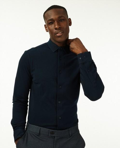 Donkerblauw hemd van piqué jersey - 100% katoen - Iveo