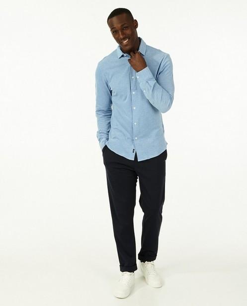 Blauw hemd van piqué jersey - 100% katoen - Iveo