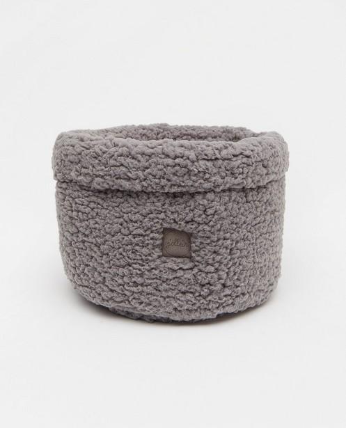 Panier de rangement gris en peluche Jollein - diamètre de 18cm - Jollein