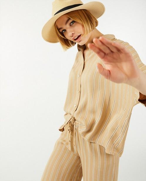 Pantalon palazzo à rayures Ella Italia - brun - Ella Italia