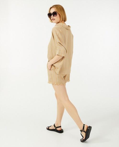 Short beige à rayures Ella Italia - avec des effilochures - Ella Italia