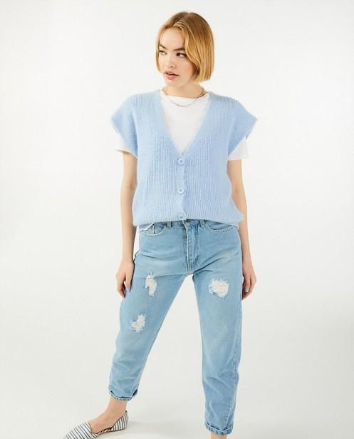 Débardeur bleu avec des boutons Ella Italia - fin tricot - Ella Italia