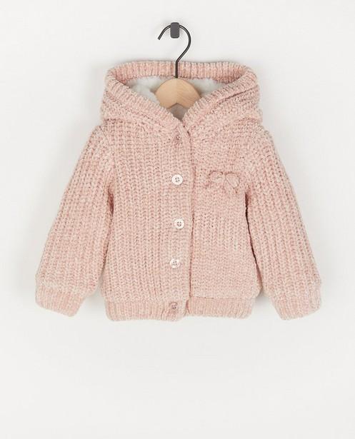 Roze jas van chenille met pelsje - en capuchon - Cuddles and Smiles