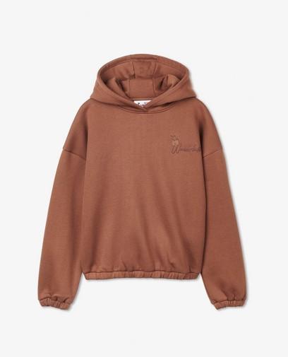 Hoodie brun avec une inscription