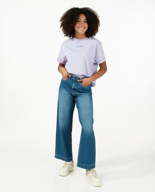 T-shirt lilas en coton bio - avec inscription - Groggy