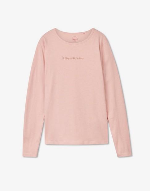 T-shirt à manches longues avec inscription BESTies - rose - Besties