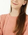 Truien - Roze trui met kabelpatroon