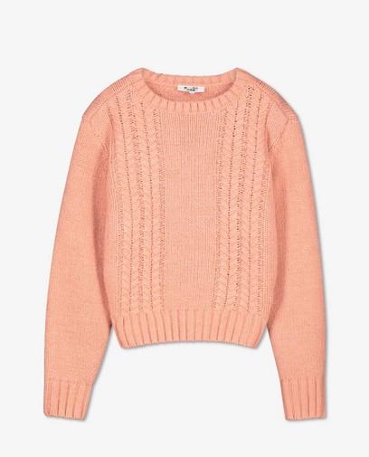 Roze trui met kabelpatroon
