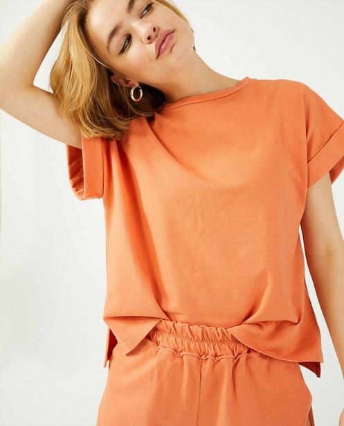 Oranje sweatshort Ella Italia - met korte fit - Ella Italia