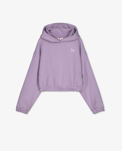 Paarse hoodie met opschrift