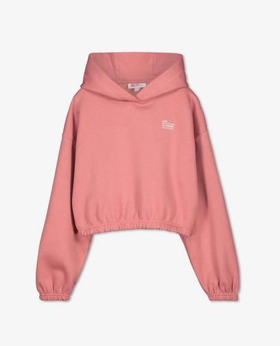 Roze hoodie met opschrift