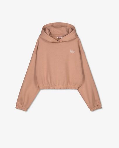 Oranjebruine hoodie met opschrift