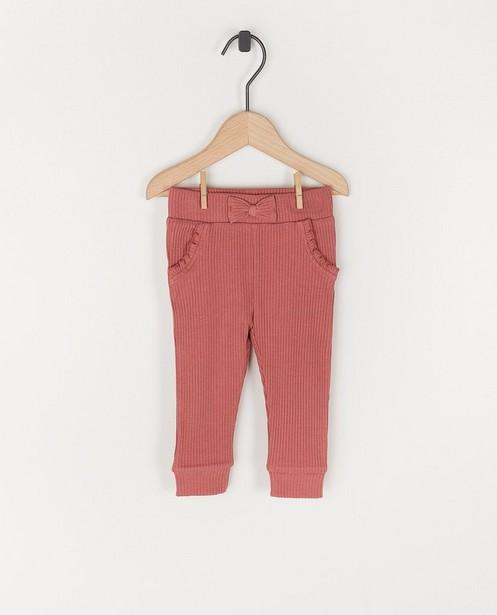Roze legging met rib en strik - stretch - Cuddles and Smiles