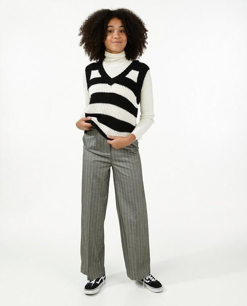 Pantalon gris à rayures - et jambes larges - Groggy