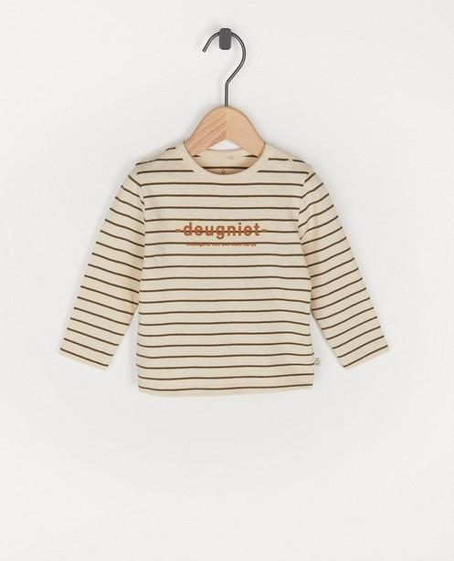 T-shirt beige à manches longues, inscription NL - en néerlandais - Cuddles and Smiles