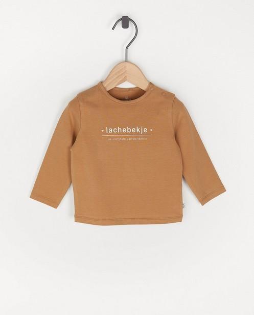 T-shirt brun à manches longues avec inscription en néerlandais - avec du stretch - Cuddles and Smiles