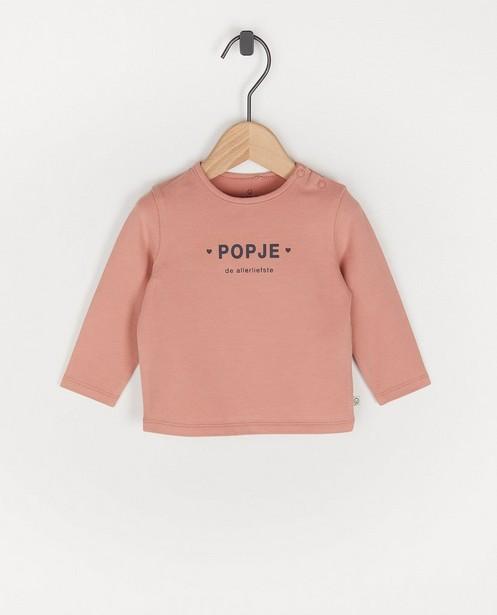 T-shirt rose à manches longues avec inscription en néerlandais - avec du stretch - Cuddles and Smiles
