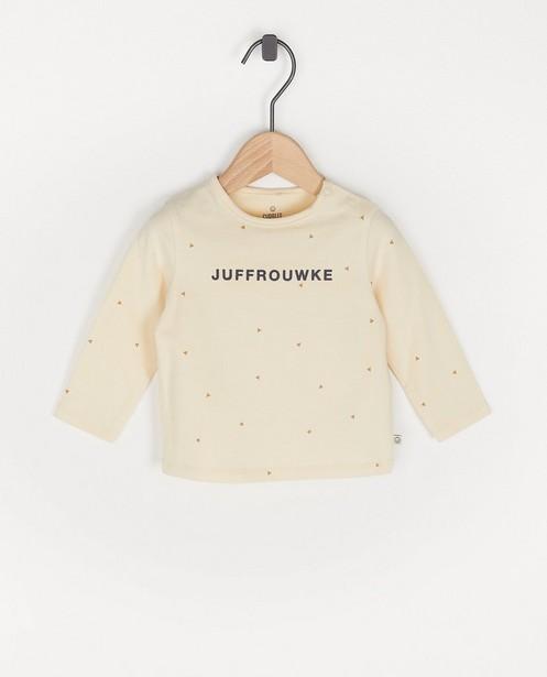 T-shirt beige à manches longues avec inscription en néerlandais - avec du stretch - Cuddles and Smiles