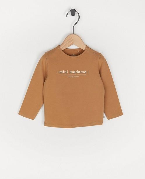 T-shirt brun à manches longues, inscription en français - avec du stretch - Cuddles and Smiles