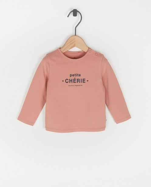 T-shirt rose à manches longues avec inscription en français - avec du stretch - Cuddles and Smiles