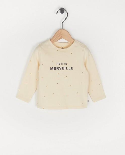 T-shirt beige à manches longues, inscription FR - avec du stretch - Cuddles and Smiles