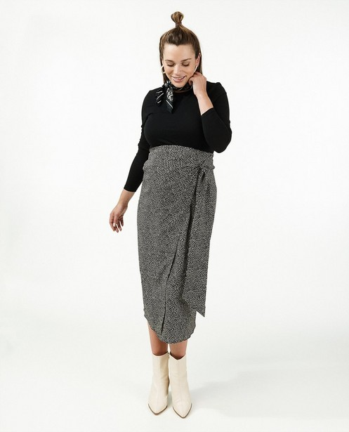Zwarte rok met print JoliRonde - zwangerschap - Joli Ronde