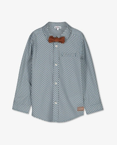Chemise bleue à imprimé et petit nœud