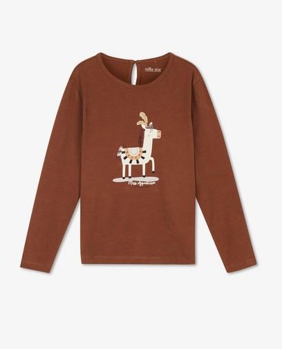 T-shirt à manches longues marron avec imprimé