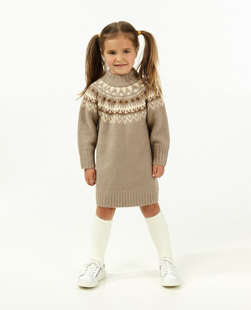 Bruine jurk met rib - lang - Milla Star