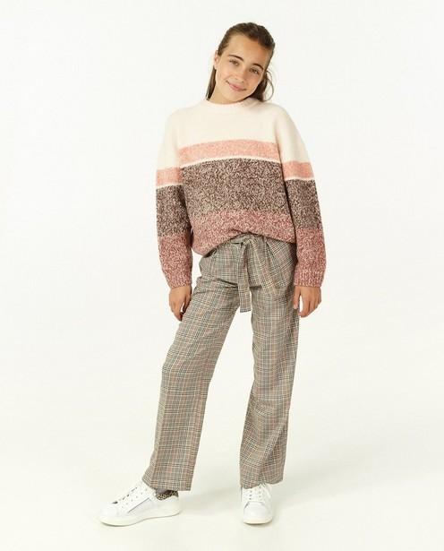 Pull en tricot ajouré avec rayures - en rose - Fish & Chips