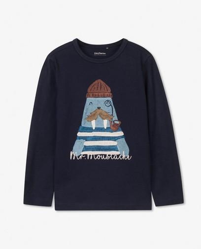 T-shirt à manches longues bleu avec imprimé