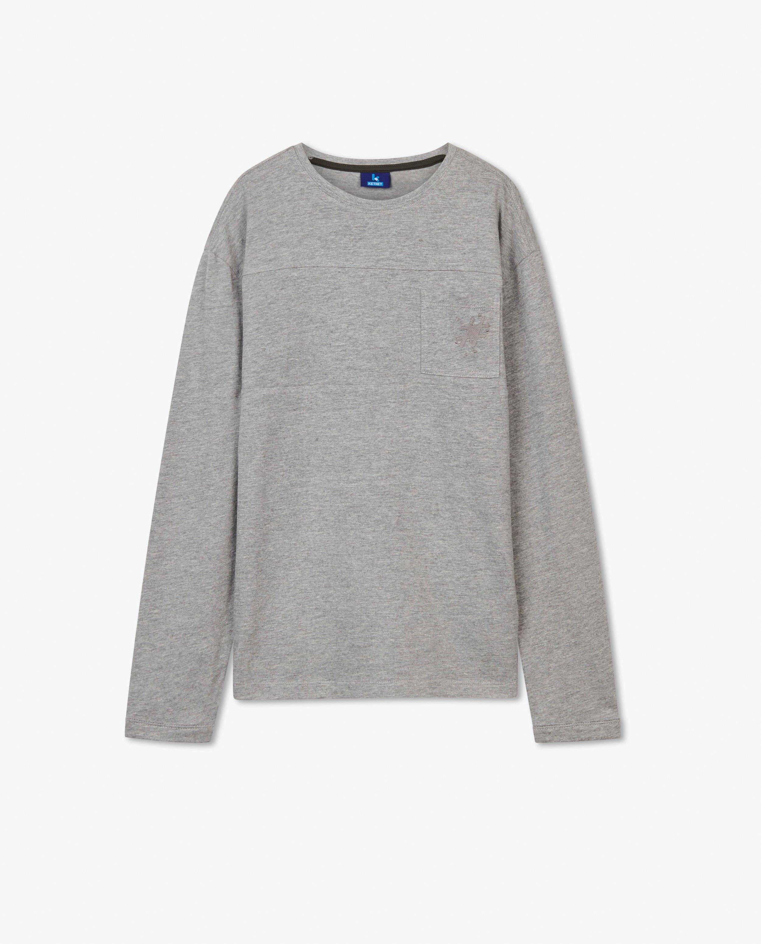 T-shirt gris à manches longues #LikeMe