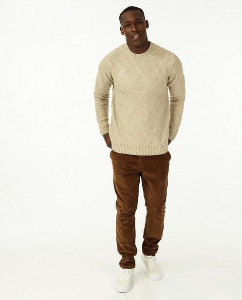 Pull beige à motif tricoté - avec du stretch - Quarterback