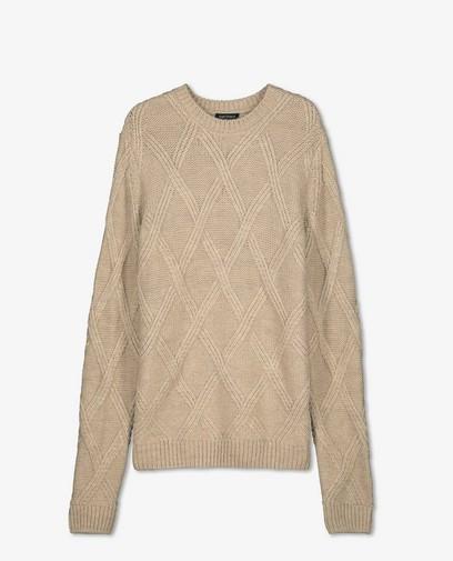 Pull beige à motif tricoté