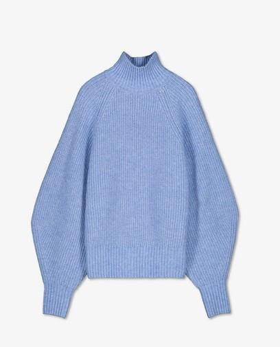 Pull bleu clair côtelé