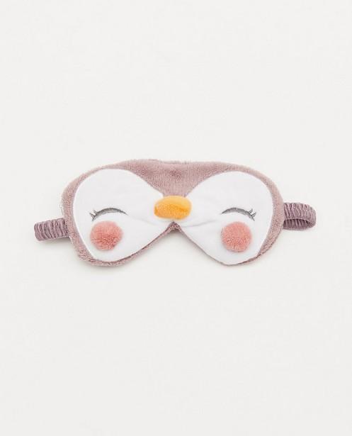 Masque de nuit mauve, imprimé de pingouins - fleece - JBC