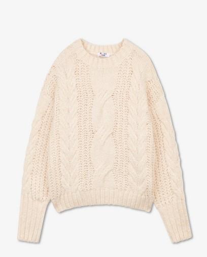 Offwhite trui met kabelpatroon