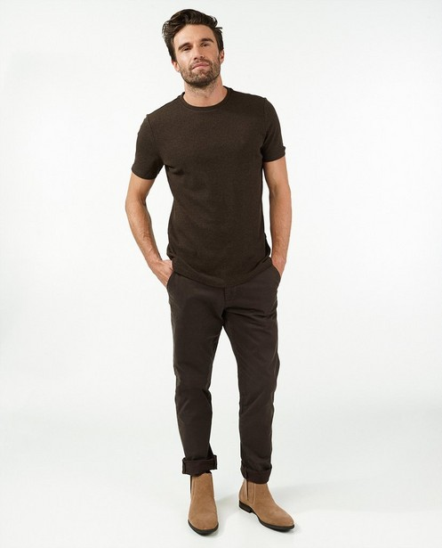Biokatoenen T-shirt in bruin - gemêleerd - Quarterback