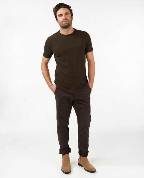 T-shirt brun en coton bio  - chiné - Quarterback