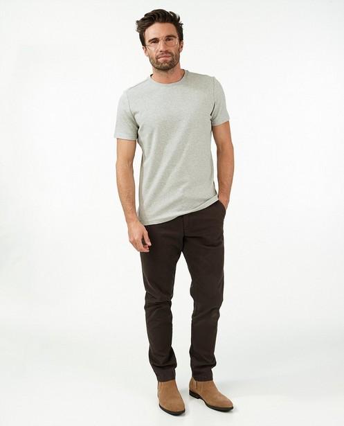 Biokatoenen T-shirt in grijs - gemêleerd - Quarterback