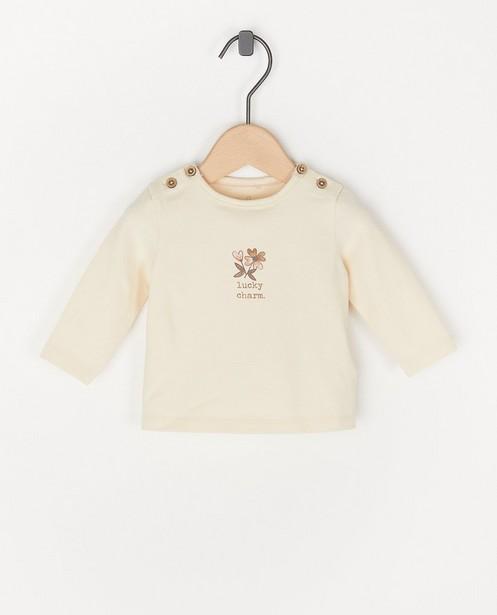 T-shirt écru à manches longues à imprimé - avec du stretch - Newborn