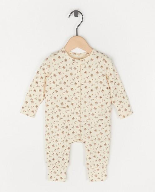 Wit kruippakje met bloemenprint - stretch - Newborn