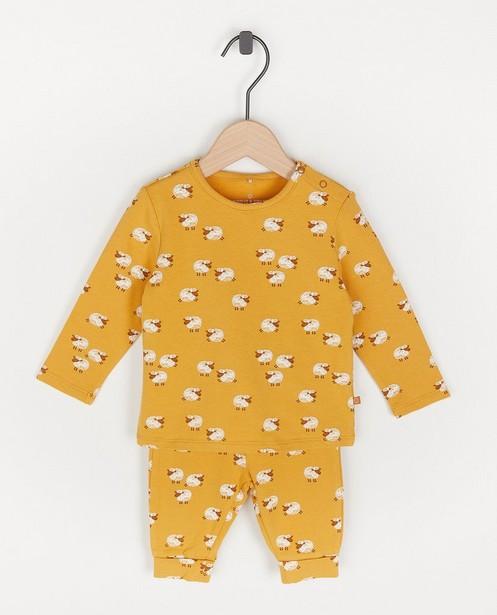 Gele unisex pyjama met schaapjes - met meegroeibroekje - Cuddles and Smiles