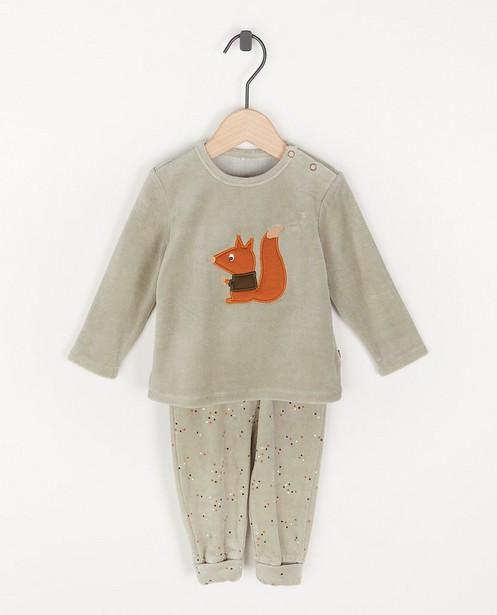 Pyjama gris avec un écureuil - deux pièces - Cuddles and Smiles