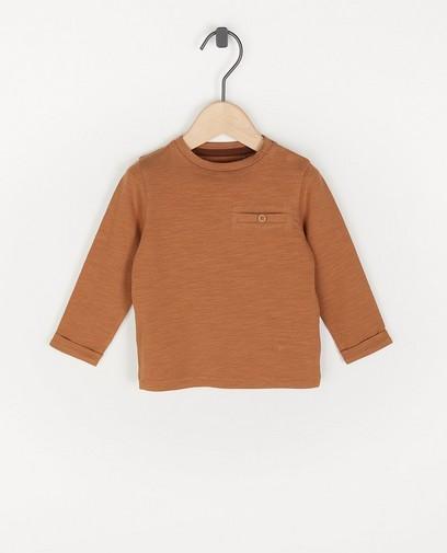 T-shirt brun à manches longues unisexe