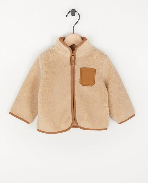 Gilet unisexe en peluche beige - avec un bord brun - Cuddles and Smiles