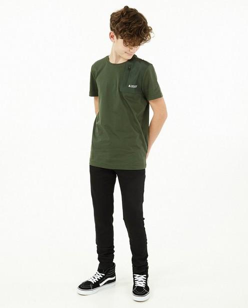 Groen T-shirt met borstzak - stretch - Fish & Chips