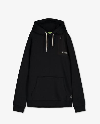 Zwarte hoodie met buidelzak