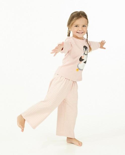 Roze pyjama met pinguïn - stretch - Milla Star