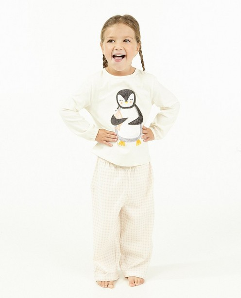 Witte pyjama met pinguïn - stretch - Milla Star